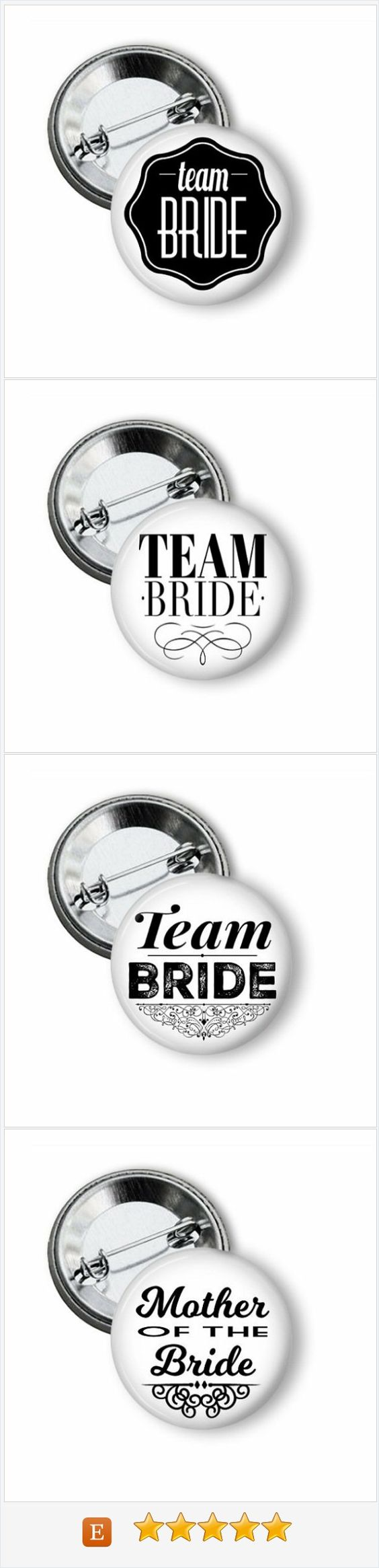 Team Bride pinback buttons great little gifts for bachelorette party attendants or rehearsal dinner.  Cute idea for party favor bags. #teambride #bride #bachelorette #bacheloretteparty #pinbackbuttons #rehearsaldiner #hennight #henparty