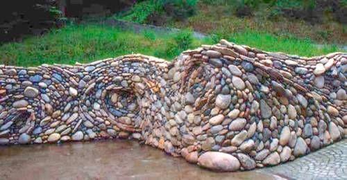 river rock garden wall - Rock Wall Garden Designs