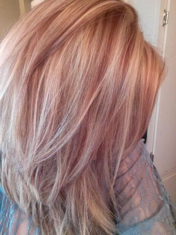 Light blonde with red lowlights for Fall