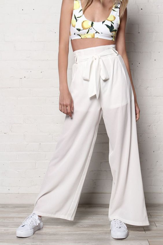 Stella Highwaist Wid Leg Pants - White