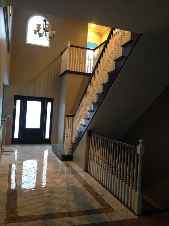 Foyer Tile Grout : Open basement stairs grout and house on pinterest
