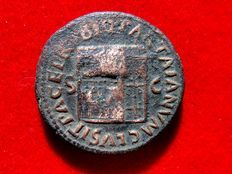 Roman Empire - Nero (54-68 A.D.), bronze as (10,95 grs., 27 mm), minted in Rome between. 64 - 66 A.D. Temple of Janus.