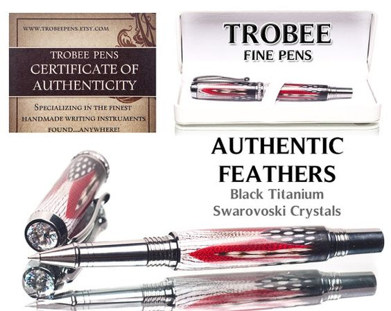 Beautiful!!! Luxury Red Feather Pen Rollerball or Fountain style by TrobeePens, $159.99