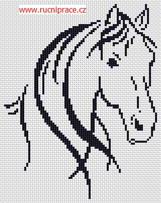 Horse, free cross stitch patterns and charts - www.free-cross-stitch.rucniprace.cz: