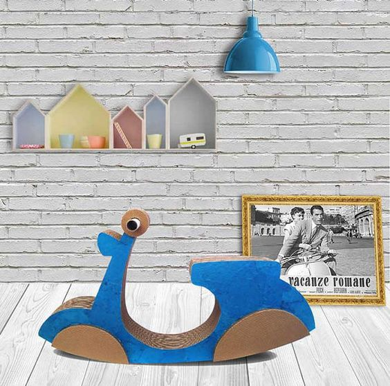 Vespa rocking toy for children, This rocking cardboard is ideal for those who want to provide their children with natural products. For those
