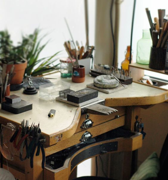 I wish my Jeweler's bench was this classy...It's more of a corner of the basement by the furnace and the cat box....