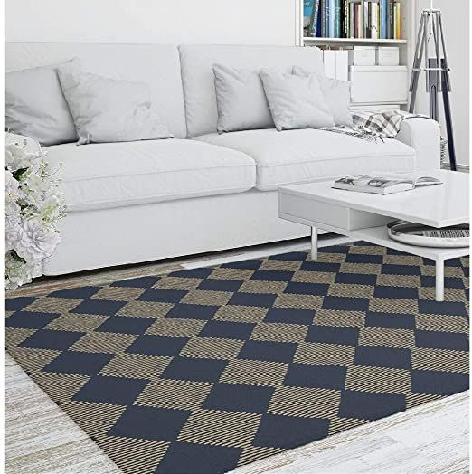 9 X 12 Casual Contemporary Style Gold Navy Blue Area Rug Stain Resistant Beautiful Checkered P In 2020 Living Room Area Rugs Area Room Rugs Contemporary Style Lights