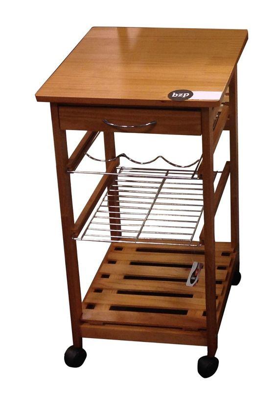 Mesa auxiliar de cocina con cajon y ruedas madera bzp for Mesas rinconeras de cocina de madera