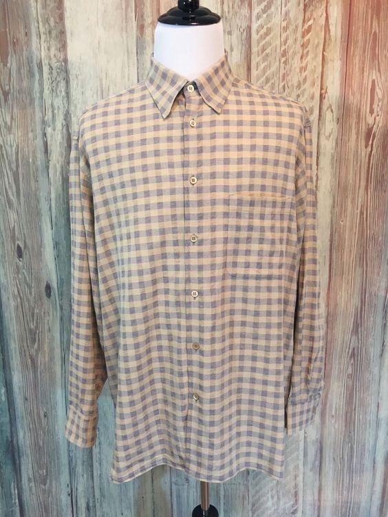 Ermenegildo Zegna Italy Plaid Check Shirt Gray Tan Cotton Button LS sz XL EUC…