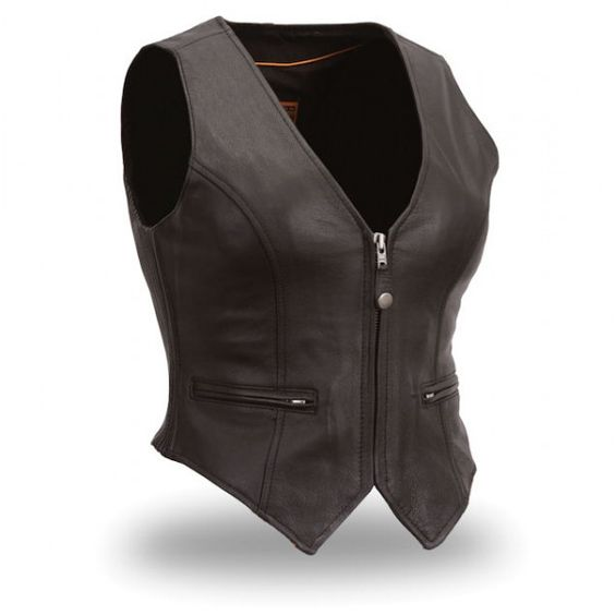 Leather Motorbike women vest Oscar Leather Jackets