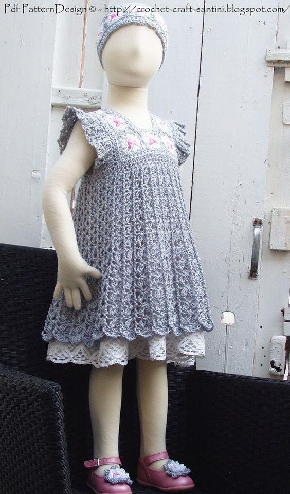 Crochet Granny Square Dress Patterns : Granny Square Yoke Dress- Crochet Pattern - Instant ...