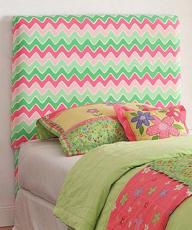 Love this Pink & Green Zigzag Headboard on #zulily! #zulilyfinds