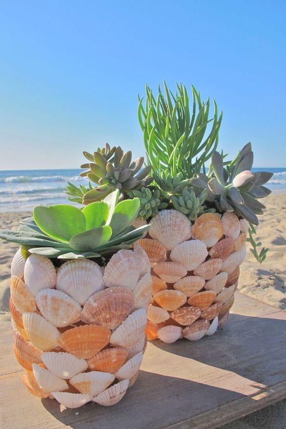 Topfpflanzen-Muscheln-Dekoration-Strand-See-Sand-Sommer