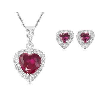 $17.99 - 3 Carat Created Ruby Heart Diamond Accent and Sterling Silver Earrings and Pendant