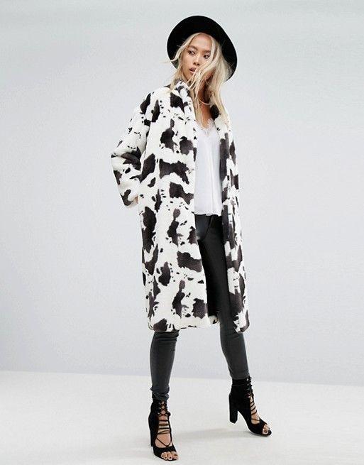 Pin On Fall Looks, White Long Line Faux Fur Zebra Print Coat