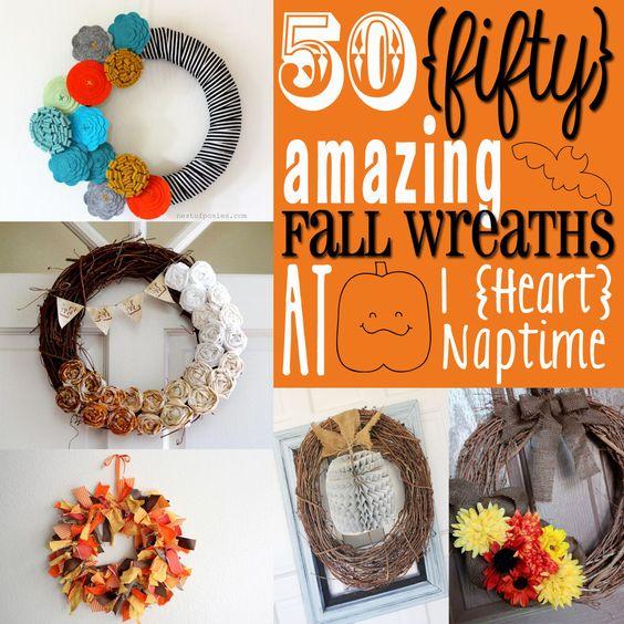50 Amazing Fall Wreaths. My front door needs one!