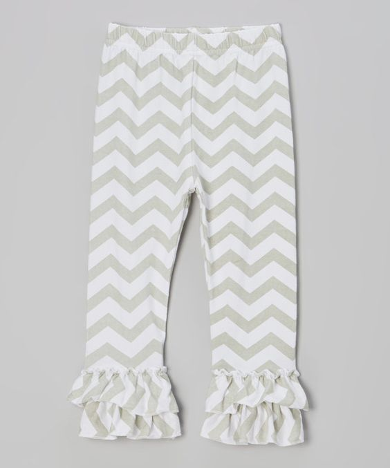 Gray & White Zigzag Ruffle Pants - Infant, Toddler & Girls by Tutus by Tutu AND Lulu #zulily #zulilyfinds