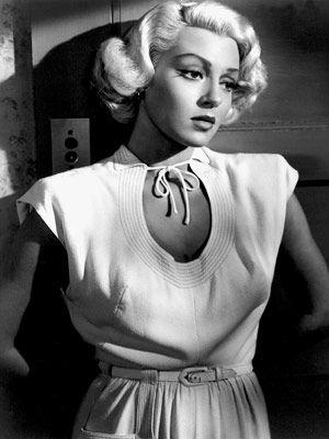 1946, Lana Turner, The postman always rings twice, key hole neckline,ribbing detail, belted dress, gathered skirt