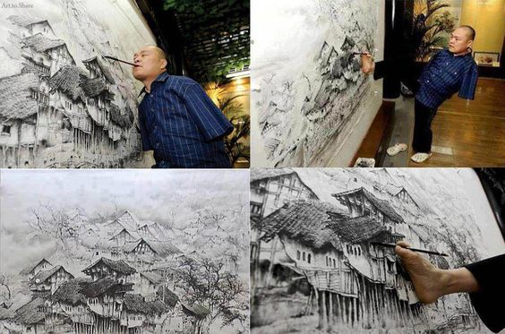 Chinese artist Huang Guofu paints using only his mouth and feet