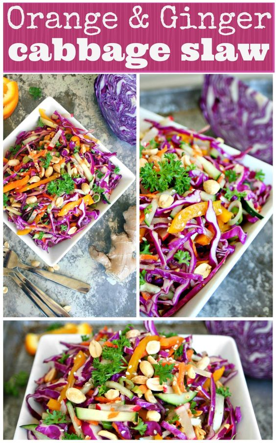Orange and Ginger Cabbage Slaw Pinterest  All GF except the soy sauce