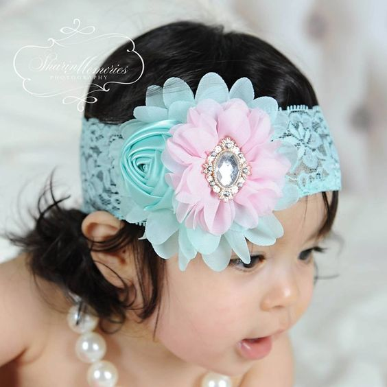 Aqua Headband/Flower Girl Headband/Baby Headband/Infant Headband/Newborn Headband/Toddler Headband/Girls Headband/Girls Headband by OohLaLaDivasandDudes on Etsy
