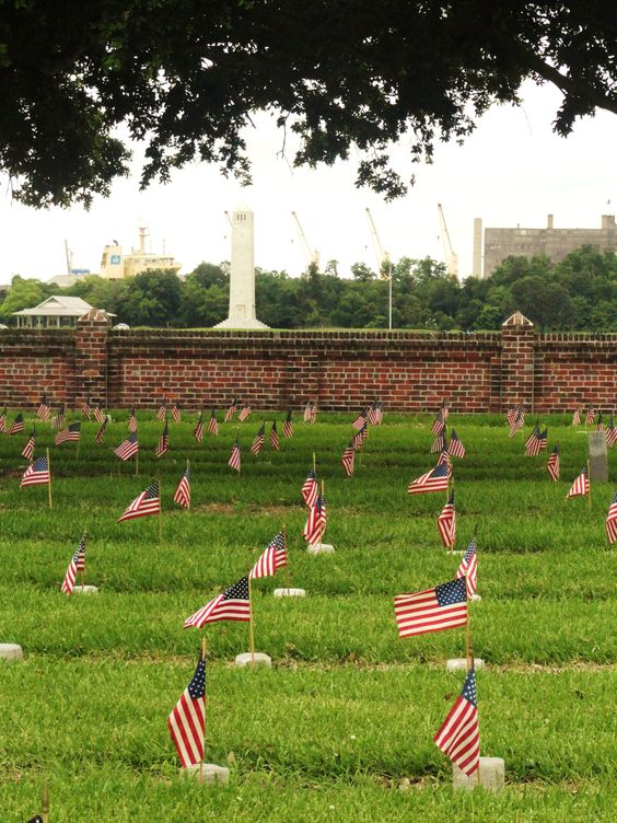 Flags to honor the fallen soldiers at Chalmette National Cemetery on Memorial Day.