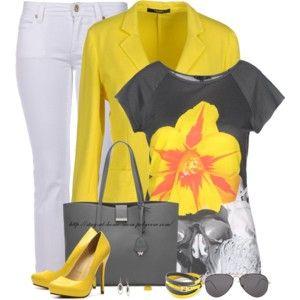 Yellow Blazer & Printed Tee