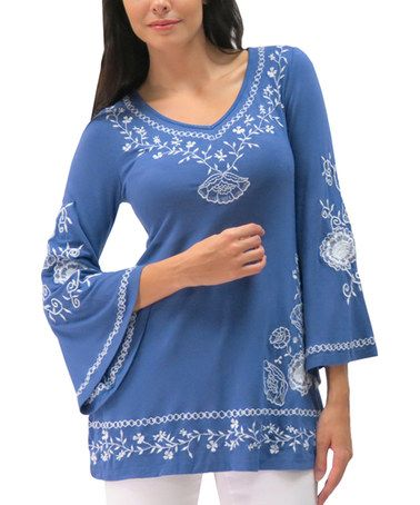 Mykonous Blue Embroidered Paige Tunic - Women & Plus by Caite #zulily #zulilyfinds