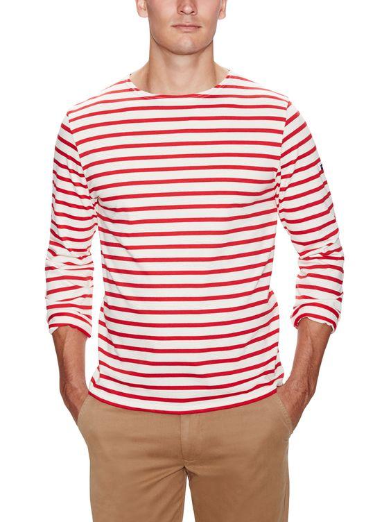 Minquiers Stretch Cotton Stripe Long Sleeve Shirt by Saint James at Gilt
