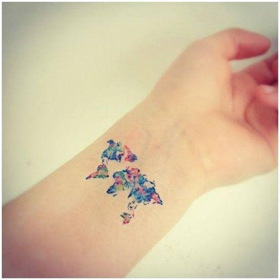 World map tattoo wrist tiny tattoo pinterest beautiful world map tattoo wrist tiny gumiabroncs Images