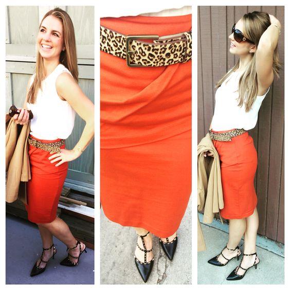 turmeric overlay pencil skirt + adore blouse + kipling belt