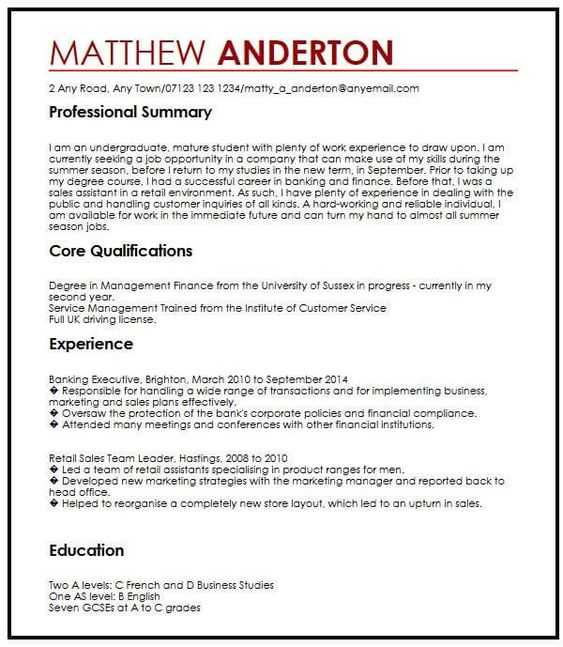 Cv Example For A Part Time Job Myperfectcv Basic Resume Examples Resume Examples Basic Resume