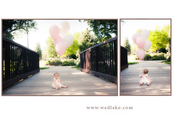 ideas for family photos with baby - Baby balloons bridge Wedlake graphic