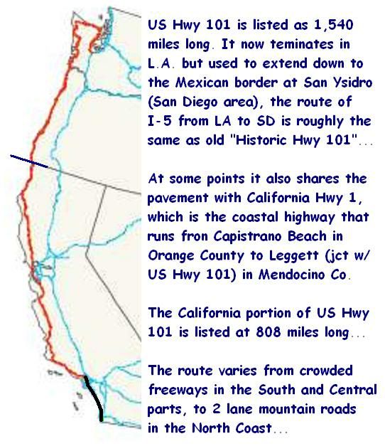 Highway Map Us Highway California Map Bucket List - Us highway 101 map