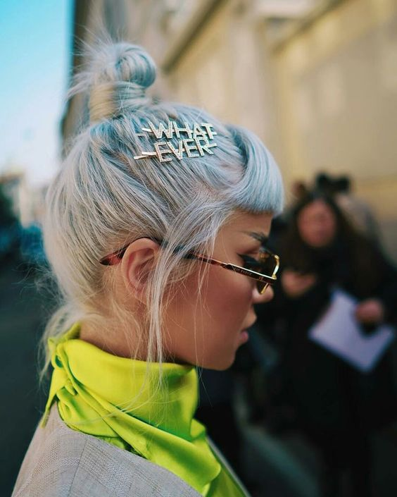 Trendy Hair: Statement Hair Pins and Hair Clips at the street style and front-row during Fall Winter 2019 Milan Fashion Week. More.