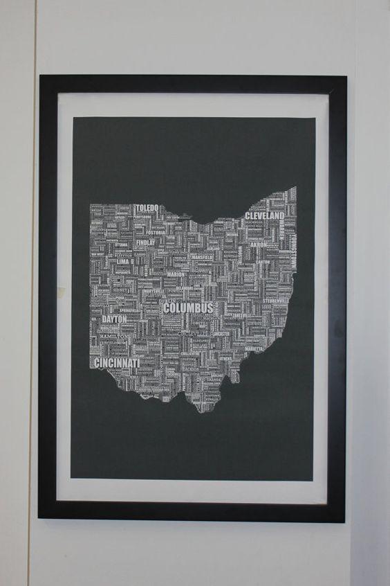 Ohio Typografie Karte Leinwand Poster 24 x 36 von apartmentb