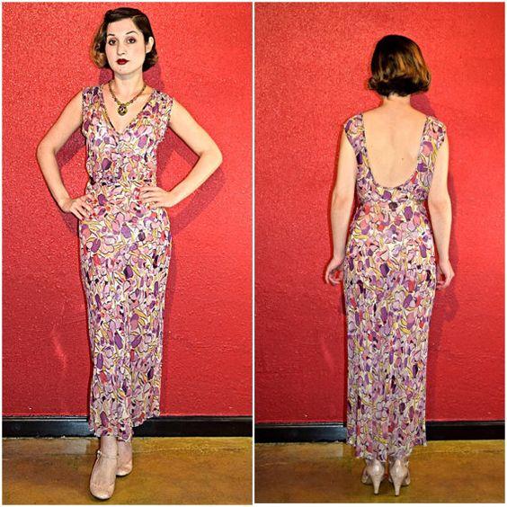 1930s Silk Chiffon Dress Bias Cut Abstract by THEGIRLCANTHELPITUSA