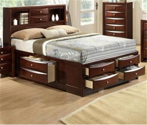 Details about emily collection bookcase headboard queen - Bedroom sets with drawers under bed ...