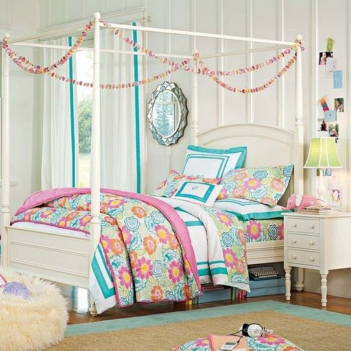 teen-bedroom-childrens-girls-idea-colorful-flowery-mix-canopy-bed -ivory-blue-pink-yellow-green-interesting-color-theme-design-decor -stylish-chic-pr