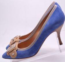 Casadei Women's Blue Suede Tan Leather Buckle Pumps Size 7 Mint Condition