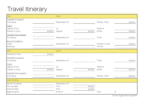 Free Printable - Travel Itinerary - itinerary template
