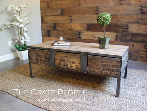 Crate Coffee Tables Vintage Wood Crates And Vintage Wood On Pinterest