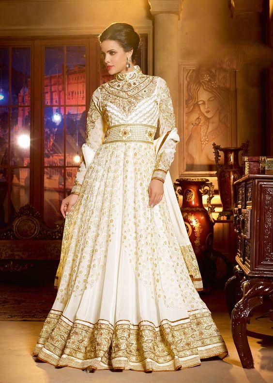 Off White Net and Georgette Abaya Style Salwar Kameez Online Shopping : 510SL02