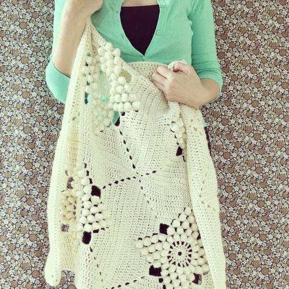 byHaafner, crochet, Smitten, blanket, vintage pattern, popcorn stitch: