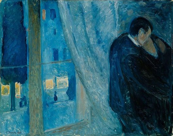 Edvard Munch, Kiss by the Window, 1892, Oil on canvas    73 x 92 cm   See the best #Art installations in New York at www.artexperience...