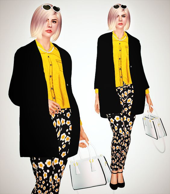 Spring 2014 Lookbook hairstyle / trench coat (source) / shirt / trousers (pattern) / heels / purse / sunglasses / necklace