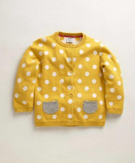 Girls Mix & Match Yellow Spot Casual Cardigan