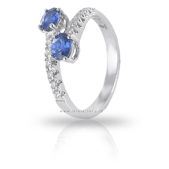 Anello con Diamanti e Zaffiri Kanch ct 0.70 Gioielli Valenza gioielloro.it - E-Commerce - Vendita on line di orologi e gioielli -   zaffiro kanch and diamonds ring, 18 kt white gold