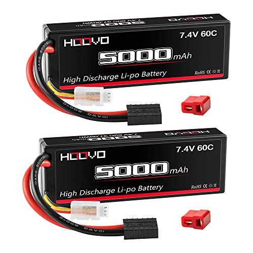 Hoovo 2s 5000mah 7 4v 60c Rc Lipo Battery Hard Case With Traxxas And Deans Connector For Rc Car Truck Truggy Buggy Tank Rc Airplan Lipo Battery Traxxas Rc Cars