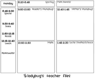 Day at a glance lesson plan template printable for Day plan template for teachers